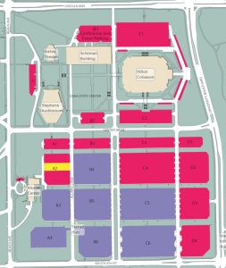 Parking Lots surrounding the Iowa State Center